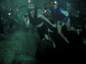 Troy and me swimming in the Nohoch Nah Chich cenote