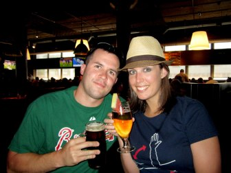Troy and me at Boston Beer Works. Watermelon Beer!!!!!