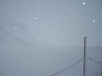 View from Jungfraujoch during a blizzard
