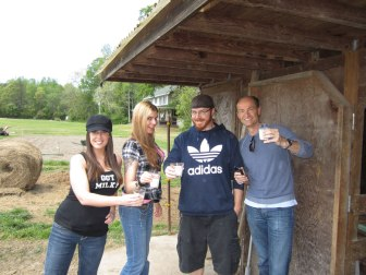 Me, Shelley, Eric, and Rick drinking our milk