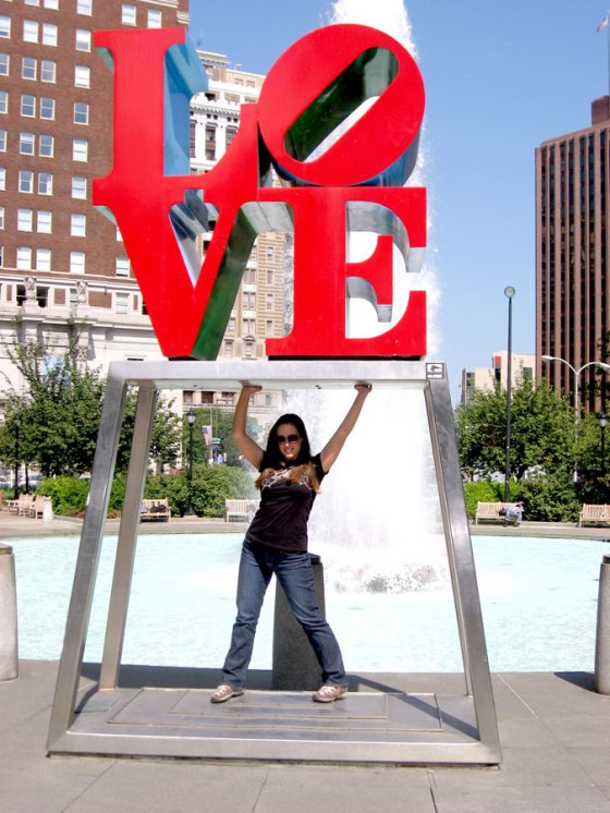 The love tower in Love Park