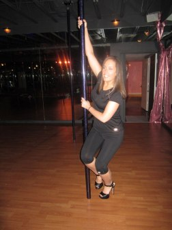 Attempting to swing around the pole
