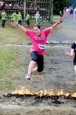 Jumping the fire at the Warrior Dash