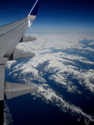 Mountains and Glaciers on the flight into Anchorage