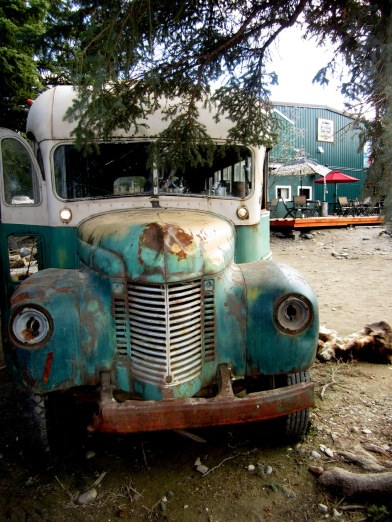 "Magic Bus from the movie ""In the Wild"" located at the 49th state Brewery in Denali"