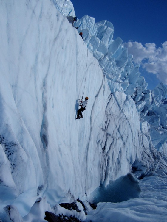 Ice climbing from the pool
