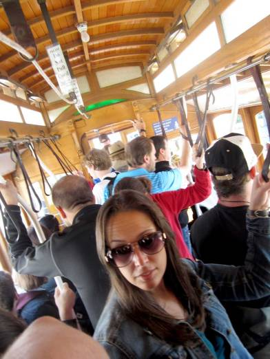 Being crammed in while riding the cable car