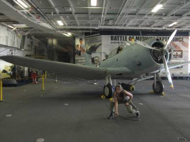 Lara Croft invades the USS Midway in San Diego.