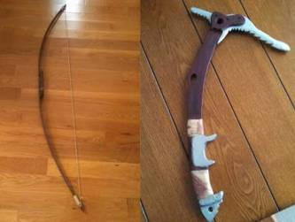 Bow and Ice Axe. Handmade by dad and painted by me