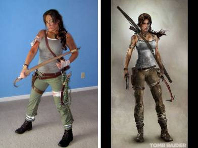 My Lara Croft Cosplay outfit compared to game version