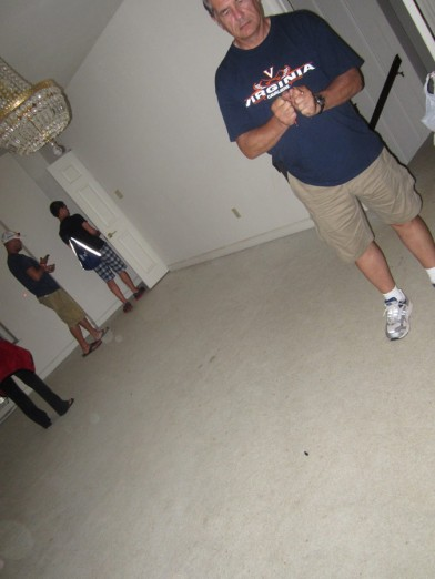 Dad investigating the room with the chandelier I kept being taken to. Notice all the orbs in the corner
