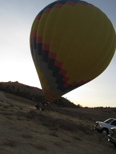 Landing the balloon.