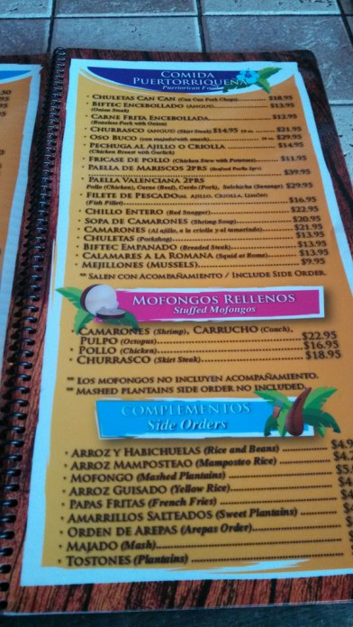Typical Puerto Rican menu at Hacienda de Jose
