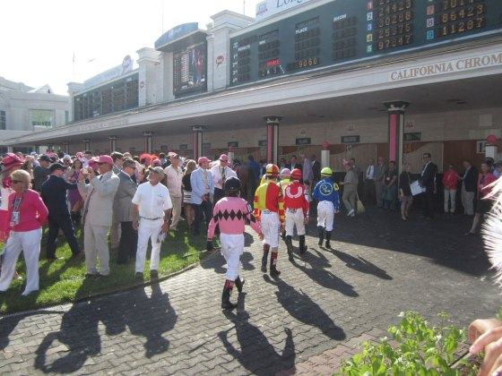 Jockeys in the Paddock area