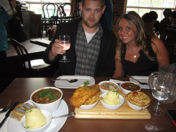 Irish feast. Irish Stew, Fish and Chips, Lamb Stew, Cottage Pie