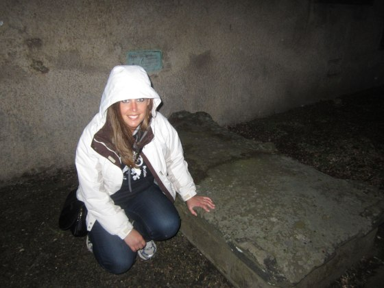 Ghost tour at the graveyard. This is where I had two face recognition boxes on my camera. One on me, one over the grave