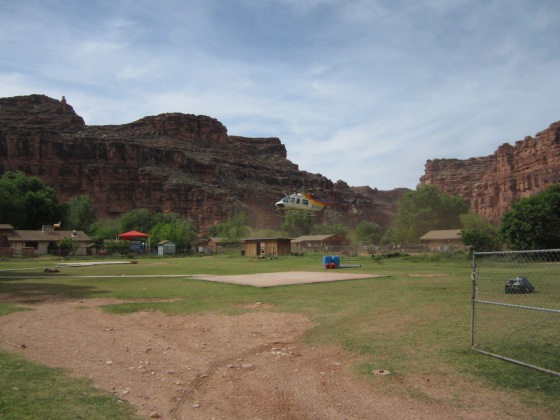 Helicopter picking up in Supai Village